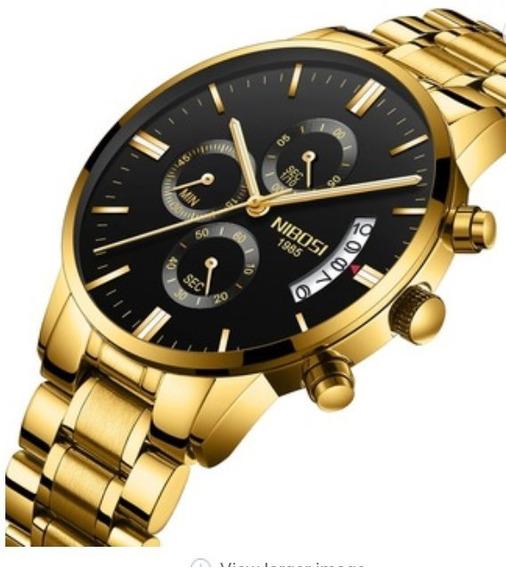 Relógio Masculino Nibosi 2309 Dourado Promoção Imbabtível
