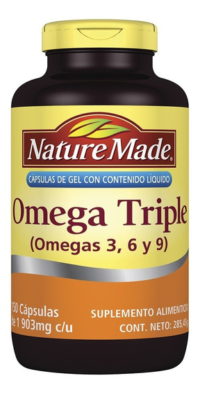 Omega Tiple 3,6 Y 9 Nature Made Frasco C/150 Cápsulas De Gel
