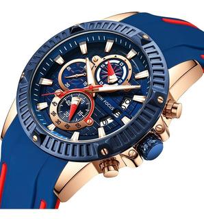 Reloj Hombre Mini Focus 244 Oa Deportivo Silicona Crono Caja