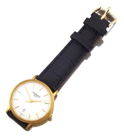 Relógio De Pulso Tissot Masculino Com Calendário Em Aço Dourado Fundo Branco Com Visor Cristal De Safira 8 Rubis J10810