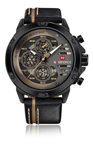Relógio Naviforce 9110 Quartz Pulseira De Couro Original