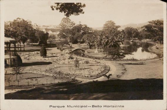 Cartão Postal Antigo Belo Horizonte Mg Parque Municipal 1941