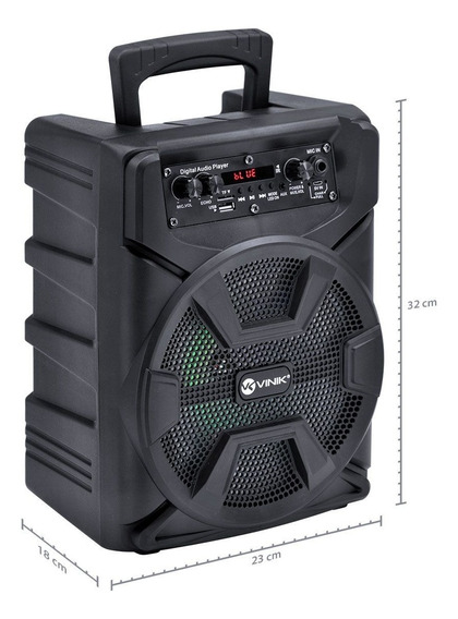 Caixa De Som Bluetooth Usb Sd Aux Mic Vinik Cp50bt