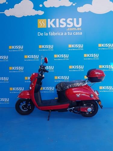 Moto Eléctrica Tipo Vespa Roja Brillante Alarma Usb
