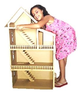 Casinha Grande Boneca Polly Barbie+40 Miniaturas Abre+ Carro
