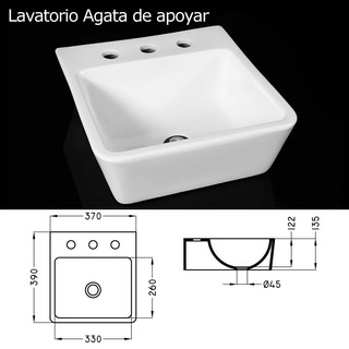 Lavatorio De Apoyo Porcelana Blanca C/ 3 Orificios Cordenons