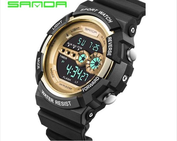 Relógio Sanda 320 5303 Dourado Digital Resistente Água 30 M