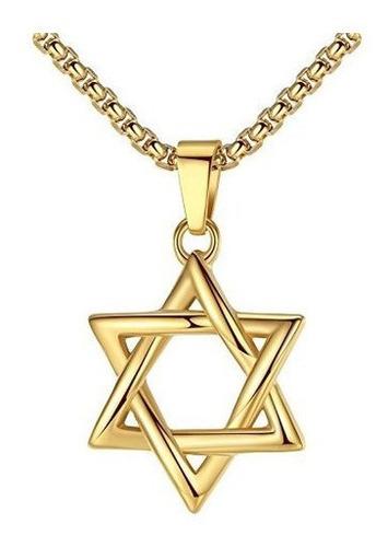 Collar Pendiente De La Estrella De David Judía De Acero