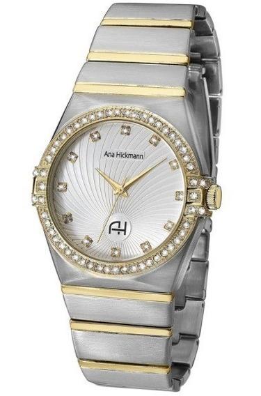 Relógio Feminino Ana Hickmann Bicolor Prata Dourado Ah28188s