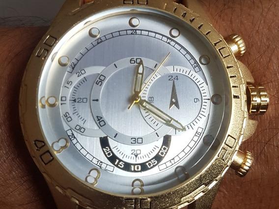 Relógio Gold Grande 50mm Pulso Lenhador Pulseira 23mm Lindo