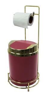 Conjunto Lixeira 5 Litros Porta Papel Higiênico Chão Dourado