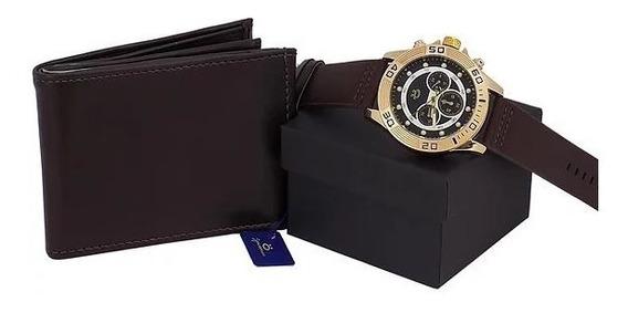 Kit Relógio Dourado Original Masculino Mais Carteira