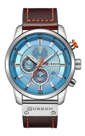 Reloj Curren Hombre Cronografo Fechador Correa De Piel