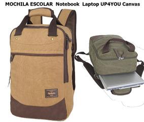 Mochila Escolar Notebook Laptop Up4you Canvas