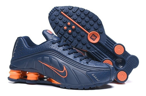 Zapatillas Nike Shox R4 Azul Acero/naranja 40/45