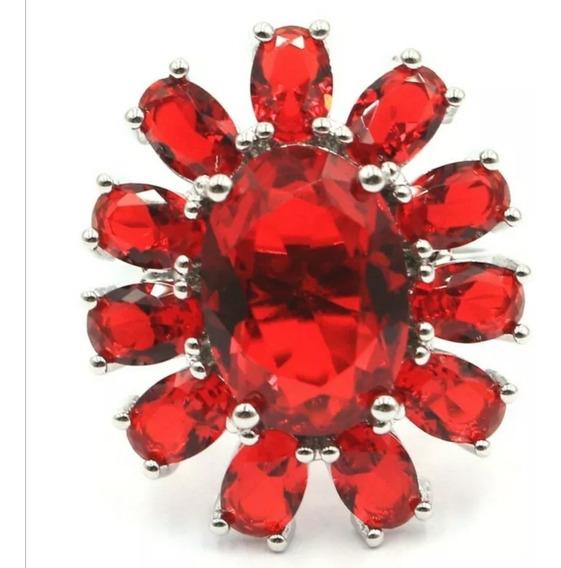 Genial Y Grande Moda Anillo Flor Ruby Rojo Intenso Plata #7