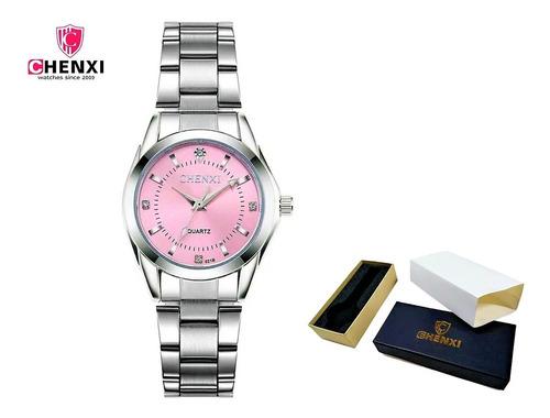 Relógio Feminino Delicado Strass Casual Aço Inoxidável