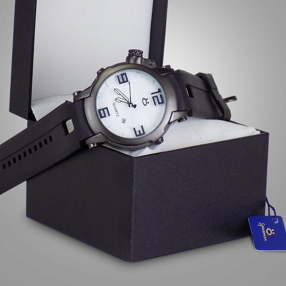 Relógio Orizom Borracha Original C/data + Caixa +nota Fiscal