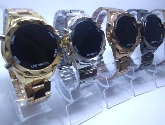 Relógio Feminino Digital C/ Botão, Dourado, Prata, Rosé Led