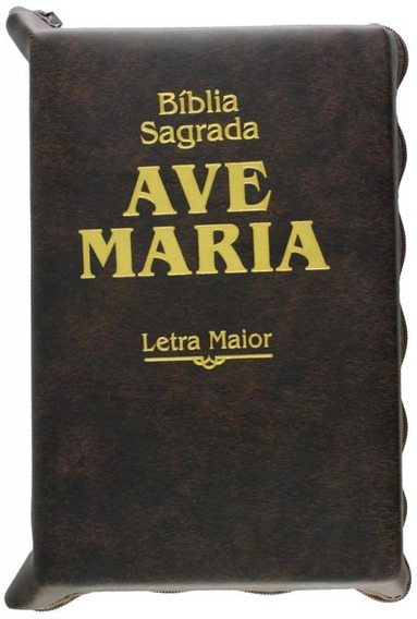Biblia Sagrada Ave Maria - Letra Maior - Marrom Ziper - Ave