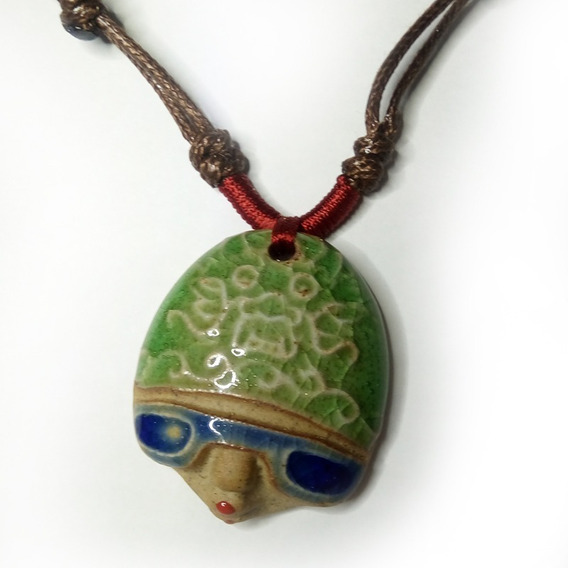 Cerâmica Japonesa Colar Pingente Artesanal Esmaltado Boho
