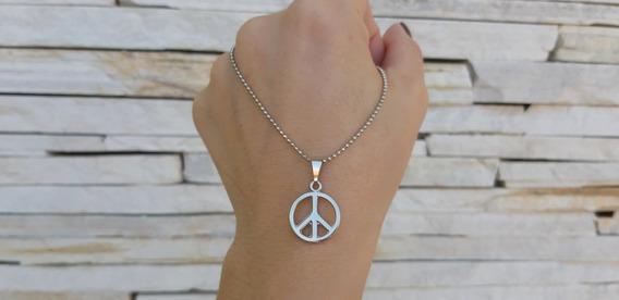 Colar Feminino Paz Amor Pingente Gargantilha Corrente Cordão