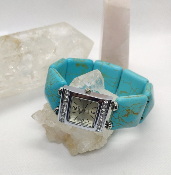 Relógio Quartz Bracelete De Pedra Turquesa