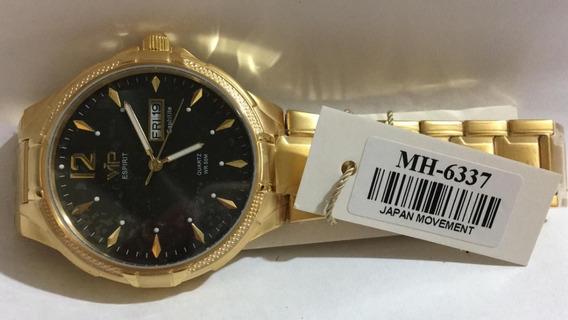 Relógio Vip Mh-6337 Pulseira Dourada Fundo Preto Promoção
