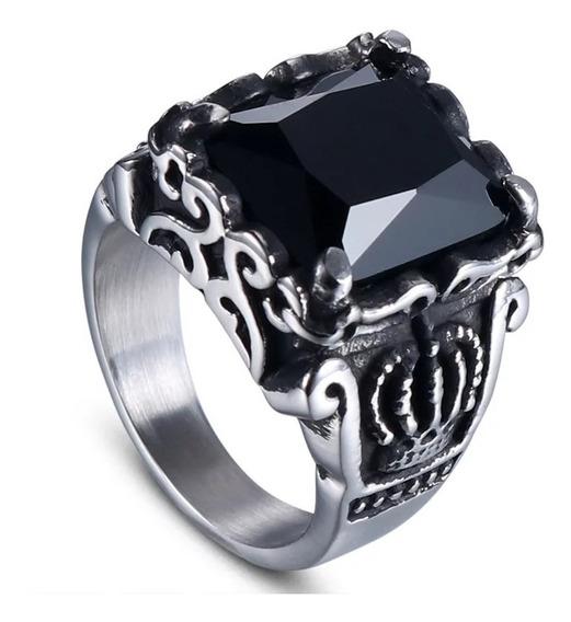 Anel Coroa Pedra Obsidiana Preta Aço 316l