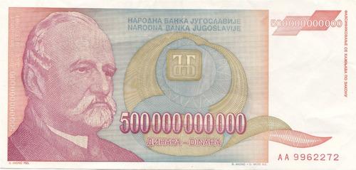 Imagen 1 de 4 de Billete Hiperinflacion Yugoeslavia 500.000.000.000 Dinares.