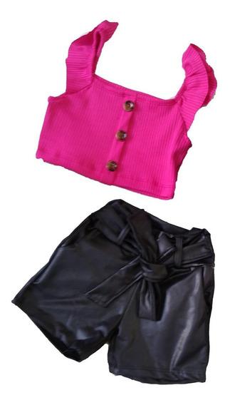 Conjunto Inf. Menina Cropped Pink+short Colchard 2 Ao 10