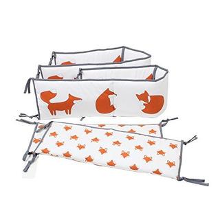 Bacati Playful Foxs Parachoques Pad, Color Naranjagris