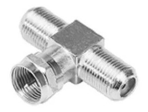Conector F / Coaxial Tipo T 1 Macho Rosca X 2 Fêmeas Rosca