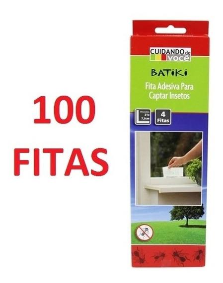 Kit 100 Fitas Fita Pega Armadilha De Cola