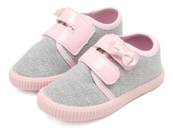 Tenis Pimpolho Casual Infantil Feminino Cinza E Rosa