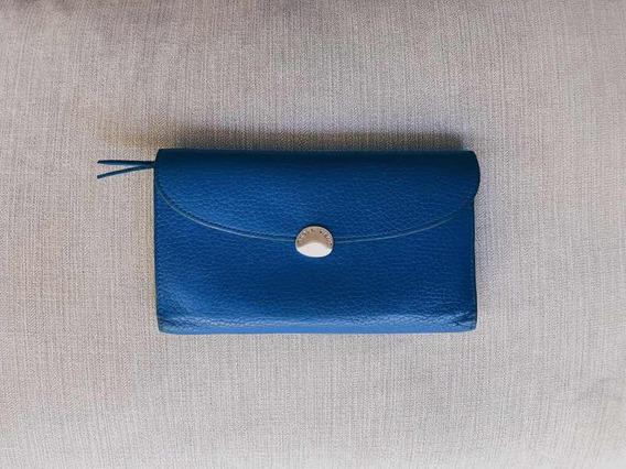 Billetera De Cuero Azul Marca Peter Kent