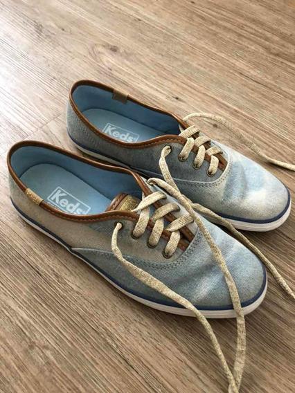 Tênis Keds Jeans Com Couro 35 Dourado