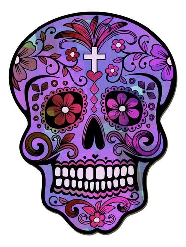 Imagen 1 de 3 de Cuadros Decorativos Calavera Mexicana Violeta 22x30cm