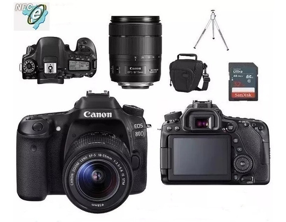 Canon Eos 80d 18-55mm Is Stm + Bolsa+tripé+32gb Nota Fiscal