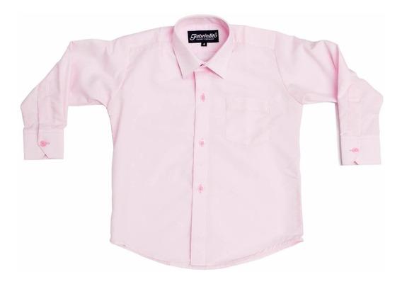 Camisa Manga Larga De Vestir Rosa Pastel Con Moño Incluido