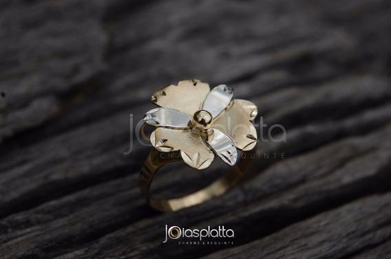 Anel De Flor 4,0g Em Ouro 18k - 750