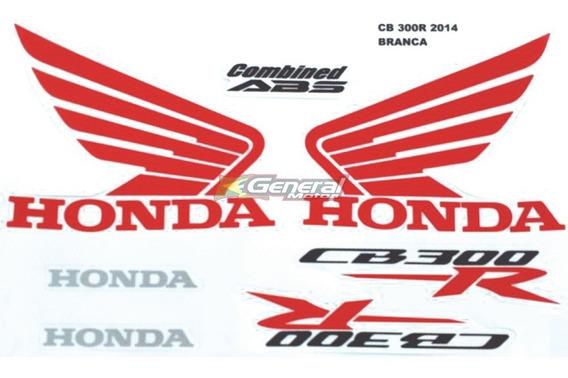 Kit Adesivo Jogo Faixas Moto Honda Cb 300r 2014 Branca