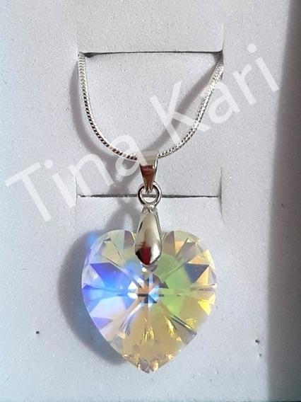 Colar Coração Namorados Swarovski Aurora Boreal Prata 925
