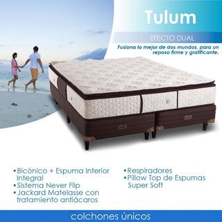 Colchon Tulum Pillow Topacio Resorte Con Esp Inyectada 140