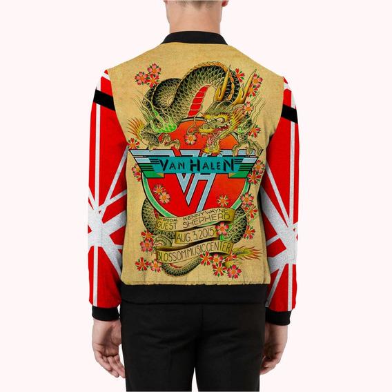 Jaqueta Bomber Cetim Forrada Van Halen Rock Hard Rock Glam