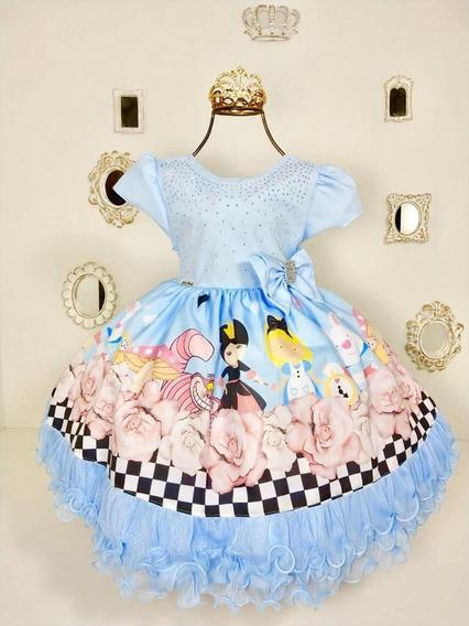 Vestido Alice No Pais Das Maravilhas - Menina Bonita