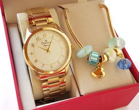 Relógio Champion Feminino Dourado Luxo + Pulseira Cn27723s