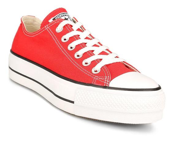 Zapatillas Con Plataforma Converse All Star Roja