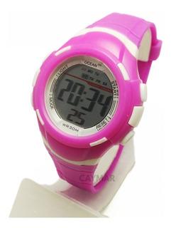 Reloj Mujer Deportivo Sumergible 5m Natación Cron Luz Garan.