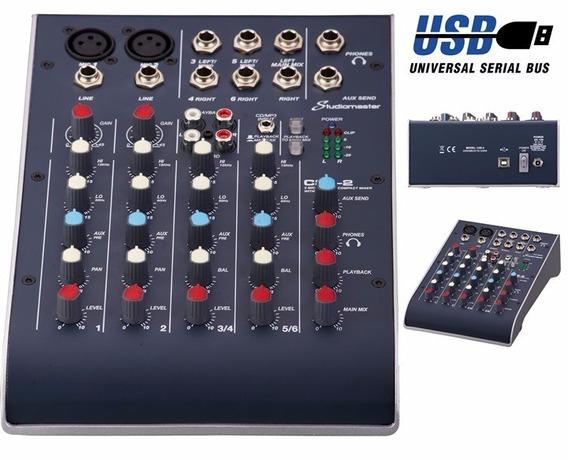 Mesa De Som 06 Canais Studiomaster C/usb C2s-2
